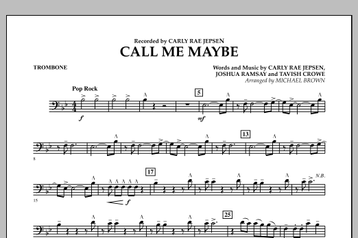 page one of Call Me Maybe - TromboneASALTTEXT