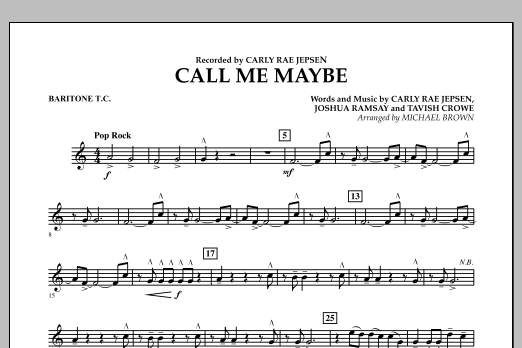 page one of Call Me Maybe - Baritone T.C.ASALTTEXT