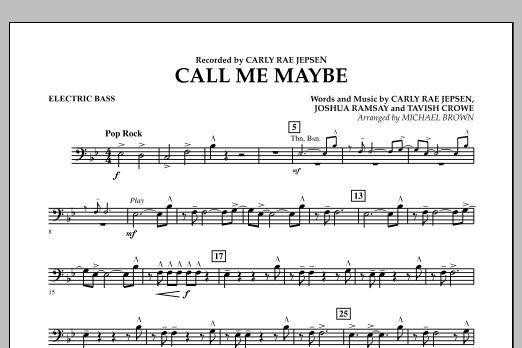 Call Me Maybe - Electric Bass (Concert Band)