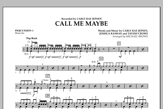 page one of Call Me Maybe - Percussion 1ASALTTEXT