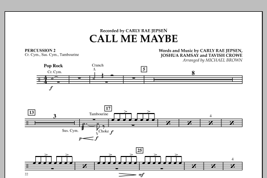 page one of Call Me Maybe - Percussion 2ASALTTEXT
