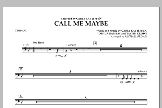 page one of Call Me Maybe - TimpaniASALTTEXT