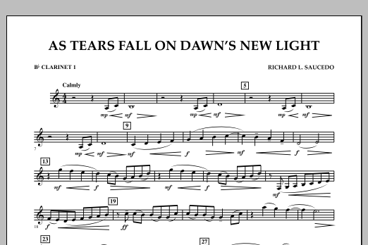 As Tears Fall on Dawn's New Light - Bb Clarinet 1 (Concert Band)