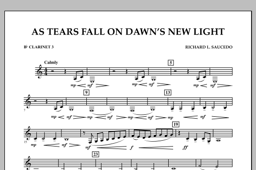 As Tears Fall on Dawn's New Light - Bb Clarinet 3 (Concert Band)
