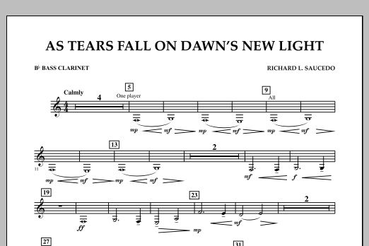 As Tears Fall on Dawn's New Light - Bb Bass Clarinet (Concert Band)