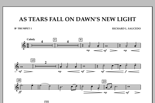 As Tears Fall on Dawn's New Light - Bb Trumpet 1 (Concert Band)