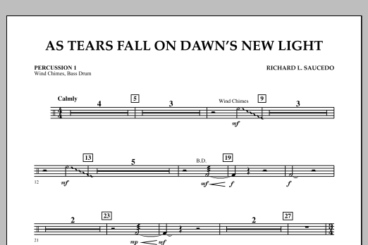 As Tears Fall on Dawn's New Light - Percussion 1 (Concert Band)