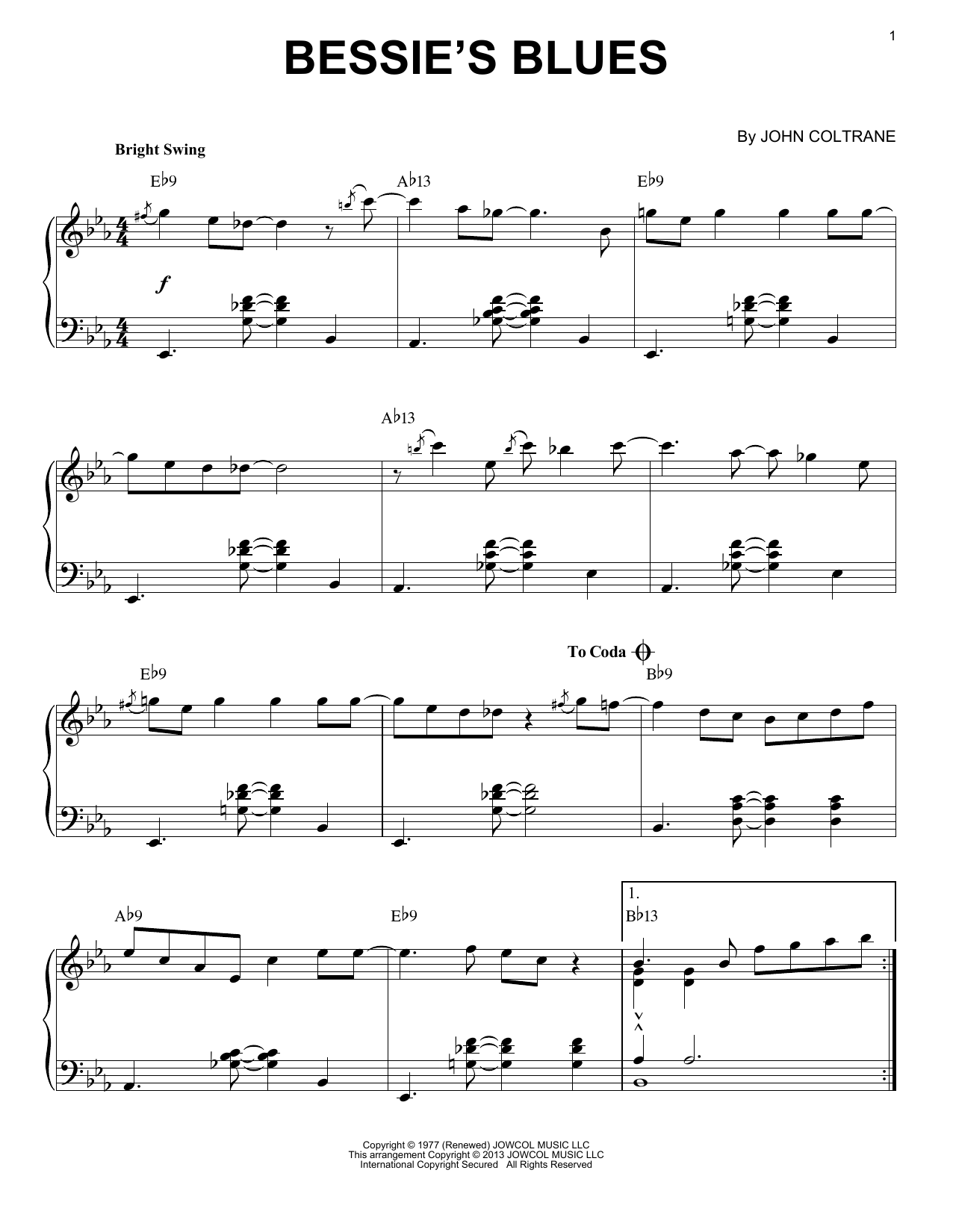 Bessie's Blues (arr. Brent Edstrom) (Piano Solo)