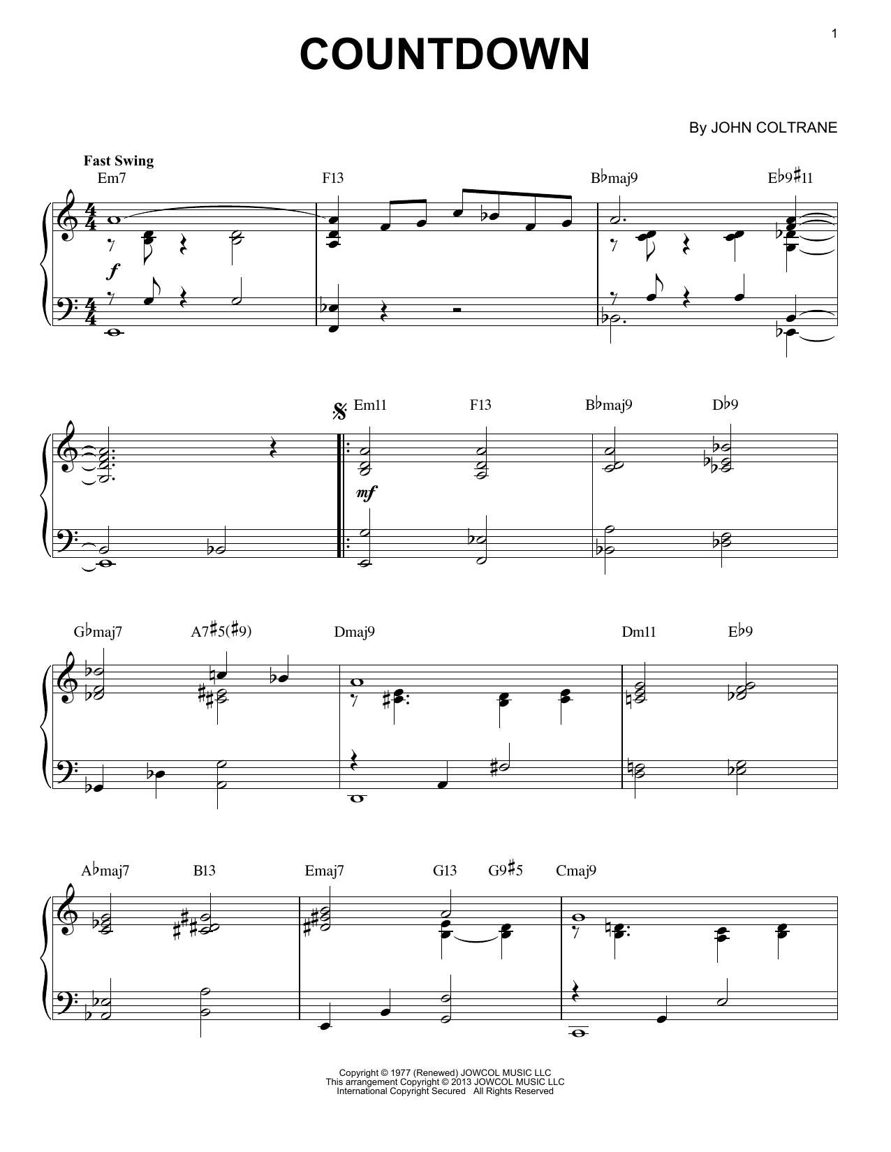 Countdown (arr. Brent Edstrom) (Piano Solo)