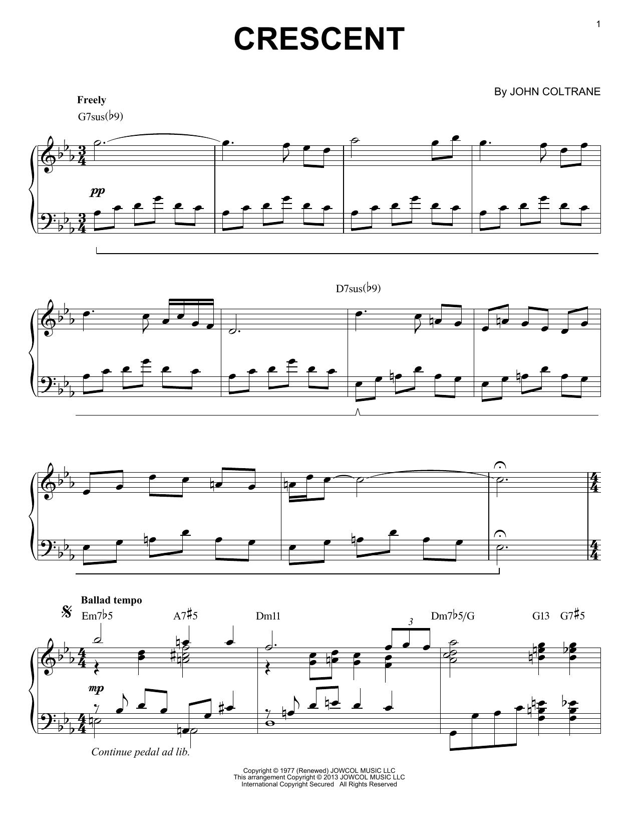Crescent (arr. Brent Edstrom) (Piano Solo)