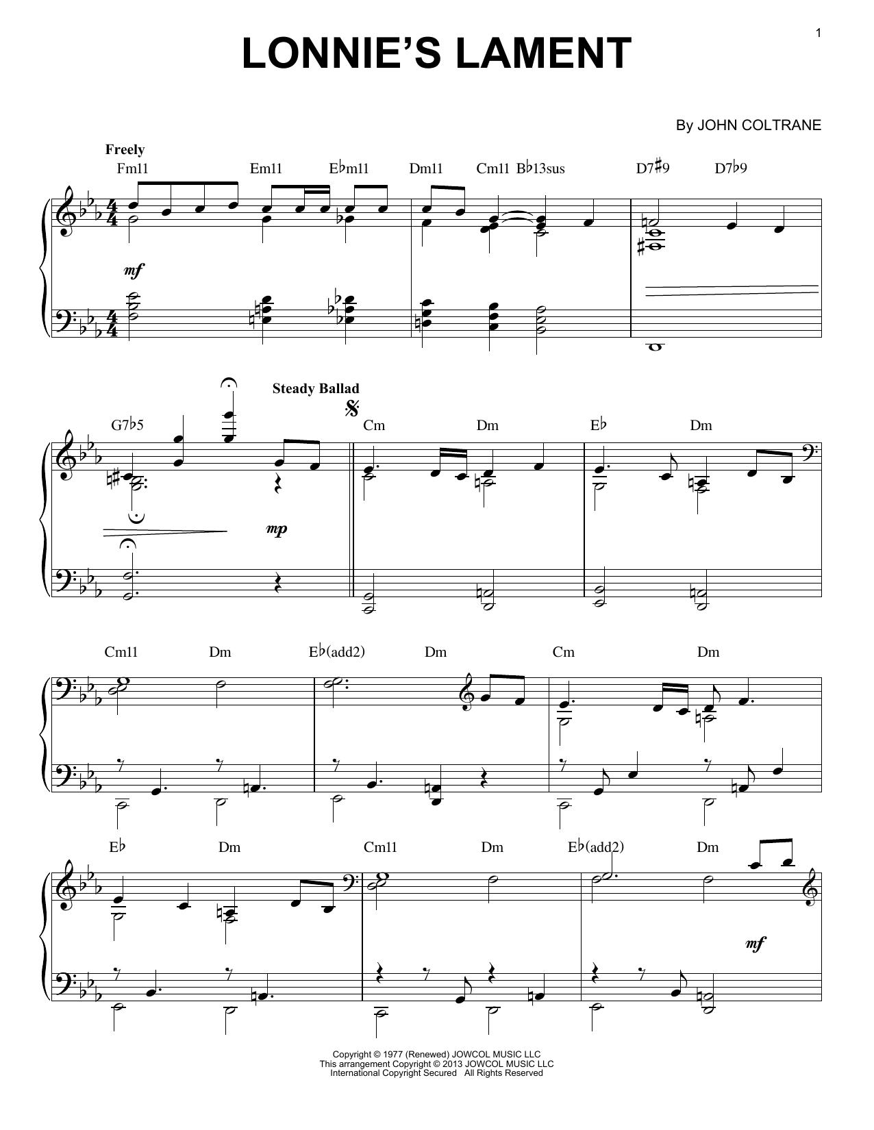 Lonnie's Lament (arr. Brent Edstrom) (Piano Solo)