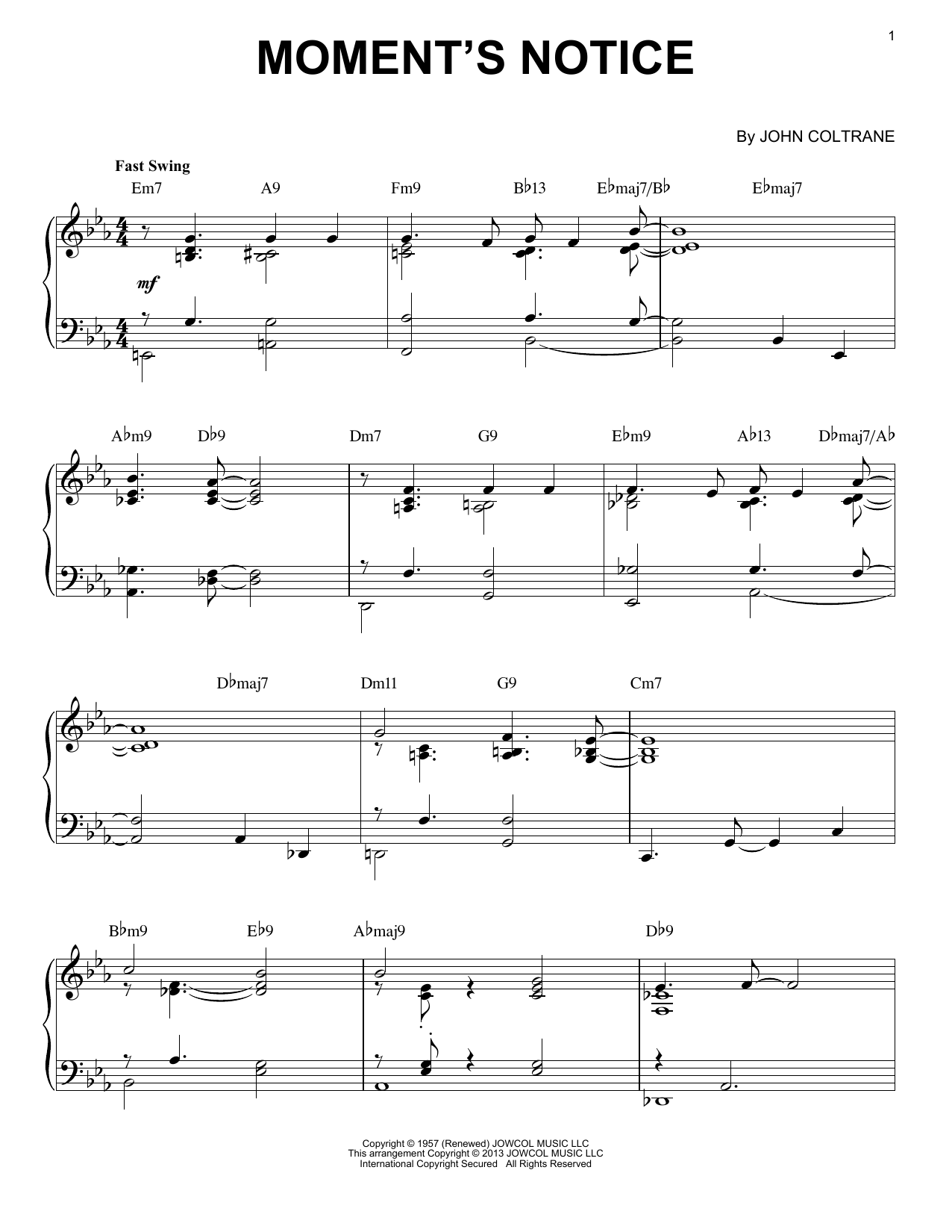 Moment's Notice (arr. Brent Edstrom) (Piano Solo)