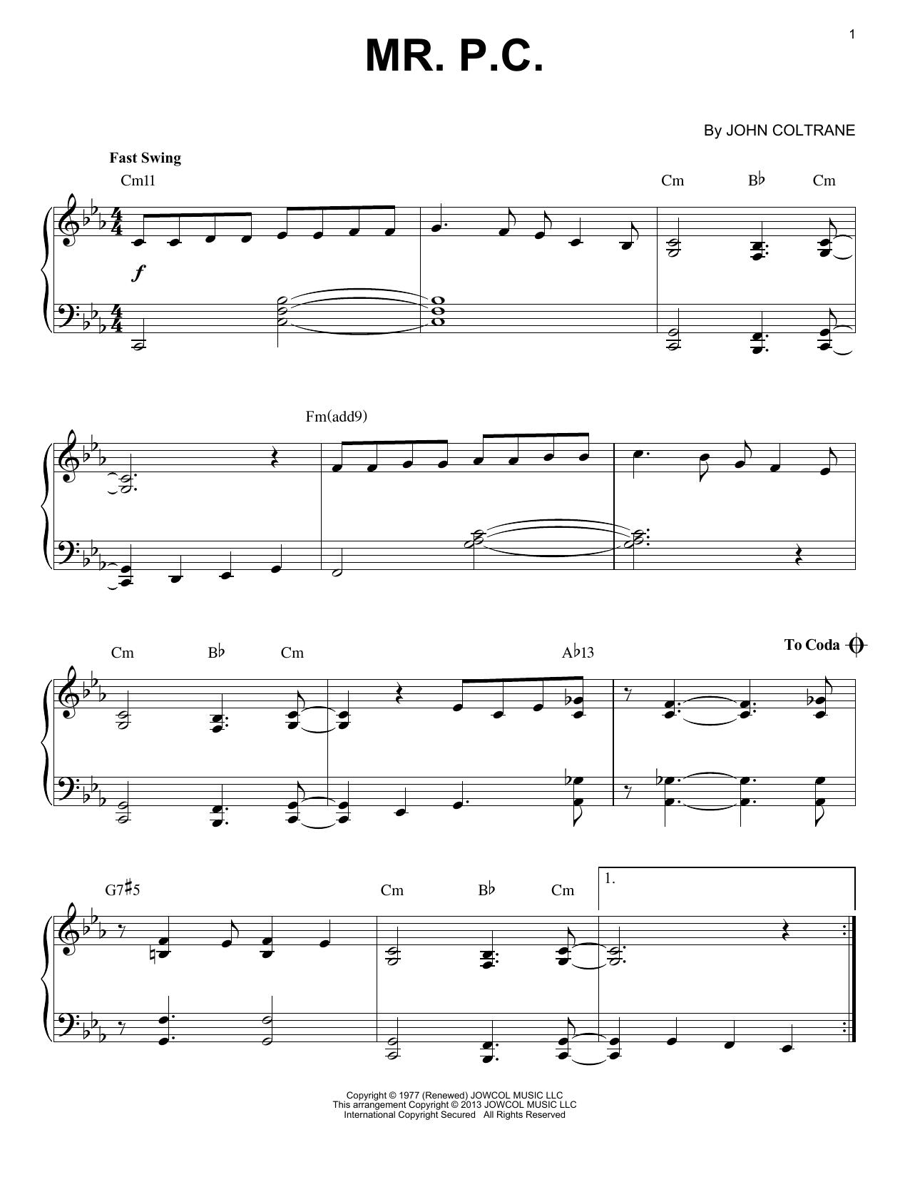 Mr. P.C. (arr. Brent Edstrom) (Piano Solo)