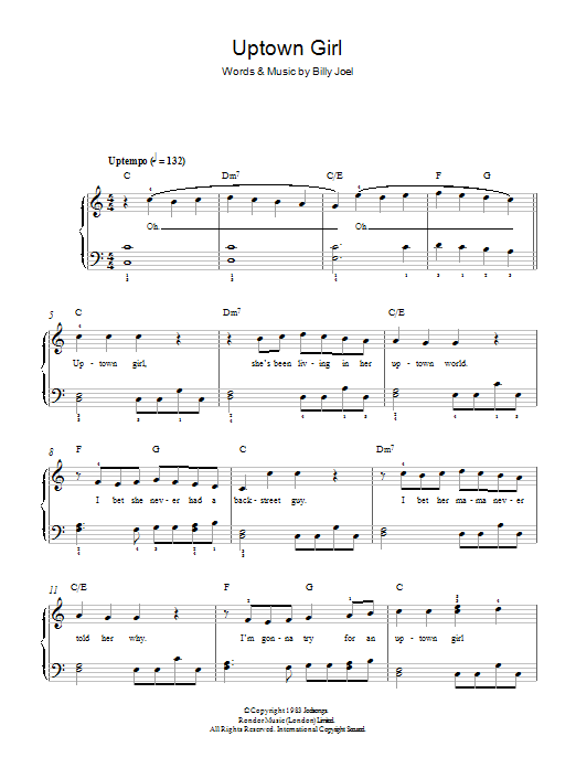 Uptown Girl (Easy Piano)