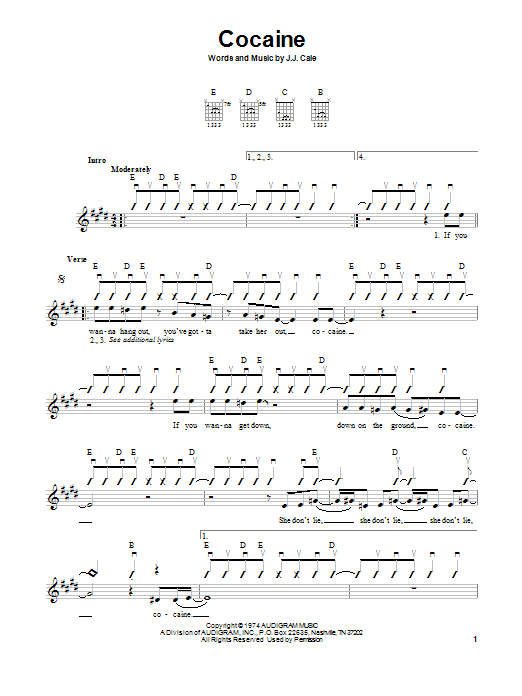 Tablature guitare Cocaine de Eric Clapton - Tablature guitare facile