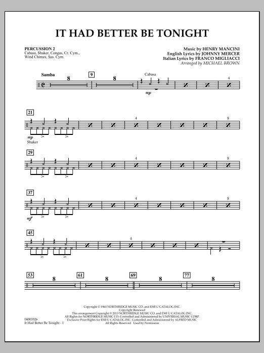 It Had Better Be Tonight - Percussion 2 (Concert Band)