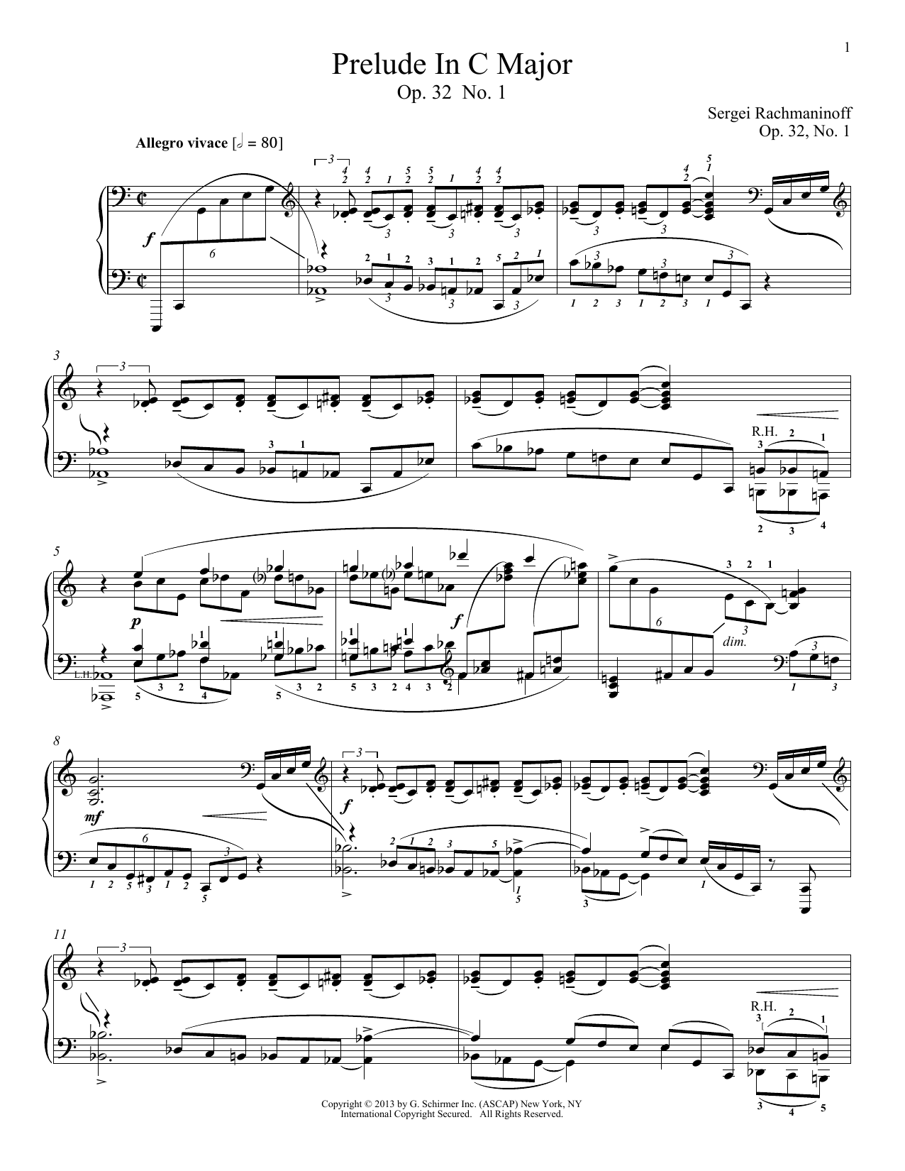 Prelude In C Major, Op. 32, No. 1 Sheet Music