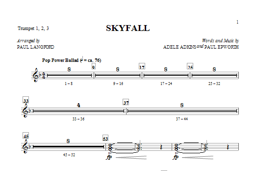 Skyfall (complete set of parts) sheet music for orchestra/band by Paul Langford, Adele, Adele Adkins and Paul Epworth. Score Image Preview.