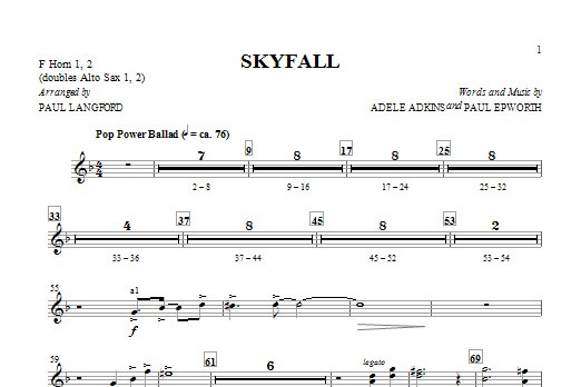 Skyfall (arr. Paul Langford) - F Horn 1 & 2 (Choir Instrumental Pak)