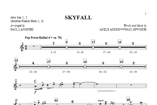 Skyfall (arr. Paul Langford) - Alto Sax 1 & 2 (Sub. Horn) (Choir Instrumental Pak)