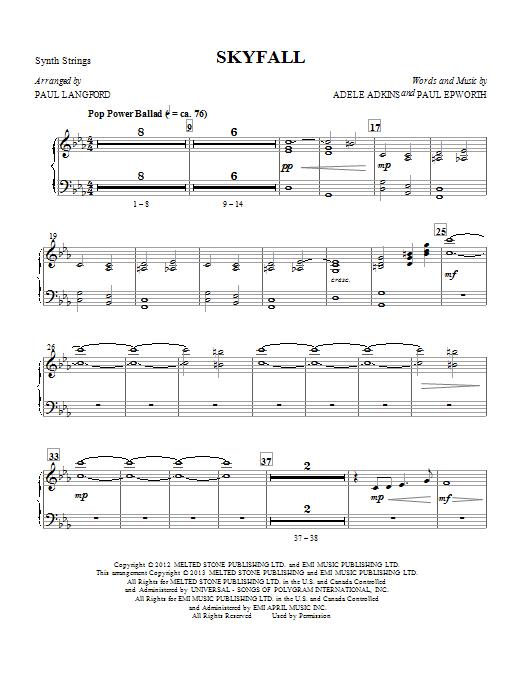 Skyfall (arr. Paul Langford) - Strings (Synth) (Choir Instrumental Pak)