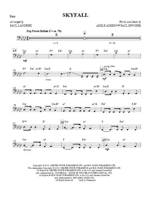 Skyfall (arr. Paul Langford) - Bass (Choir Instrumental Pak)