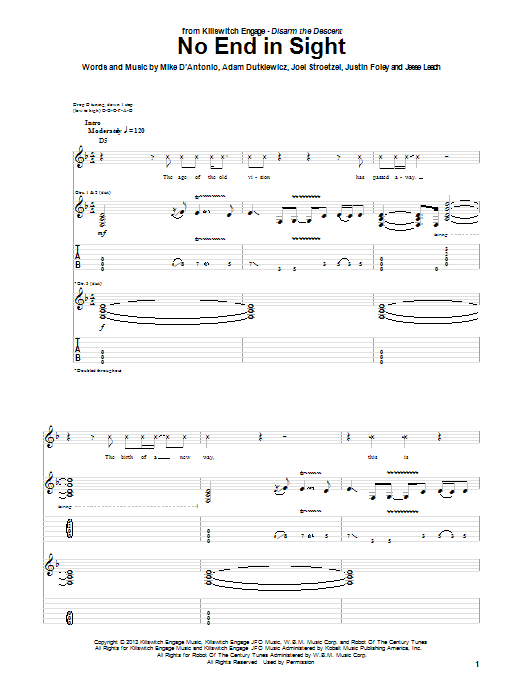 Tablature guitare No End In Sight de Killswitch Engage - Tablature Guitare