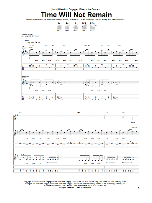 Time Will Not Remain (Guitar Tab)