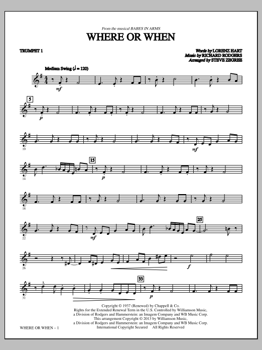 Where Or When - Bb Trumpet 1 Sheet Music