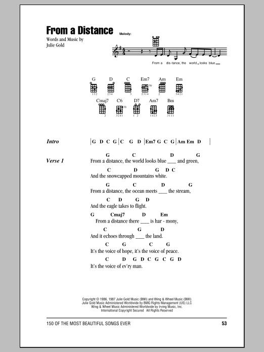 Tablature guitare From A Distance de Bette Midler - Ukulele (strumming patterns)