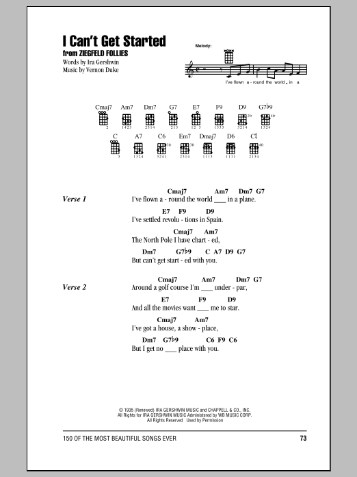 Tablature guitare I Can't Get Started de Ira Gershwin - Ukulele (strumming patterns)
