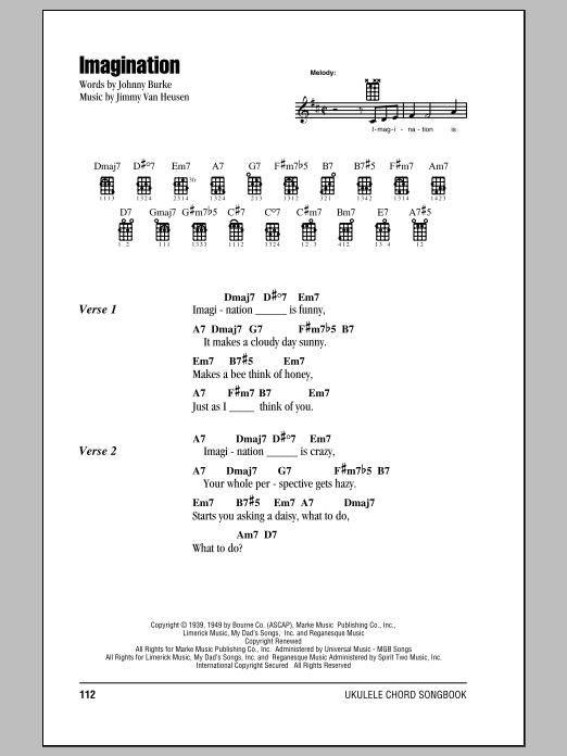 Imagination Sheet Music Jimmy Van Heusen Ukulele Chordslyrics