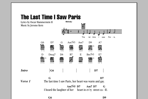 Tablature guitare The Last Time I Saw Paris de Oscar Hammerstein II - Ukulele (strumming patterns)