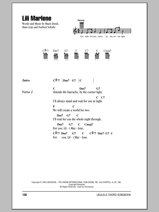 Lili Marlene Sheet Music