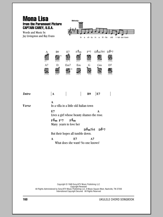 Mona Lisa Sheet Music By Nat King Cole Ukulele With Strumming