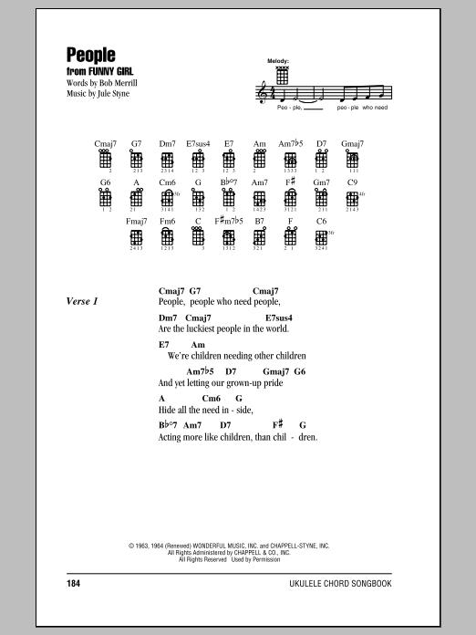 Tablature guitare People de Barbra Streisand - Ukulele (strumming patterns)