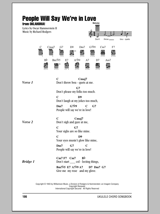 Tablature guitare People Will Say We're In Love de Oscar Hammerstein II - Ukulele (strumming patterns)