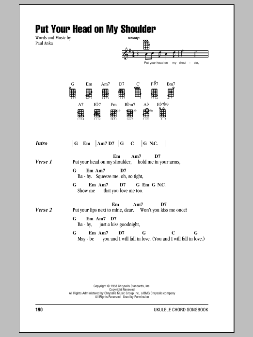 Put Your Head On My Shoulder Sheet Music Paul Anka Ukulele With