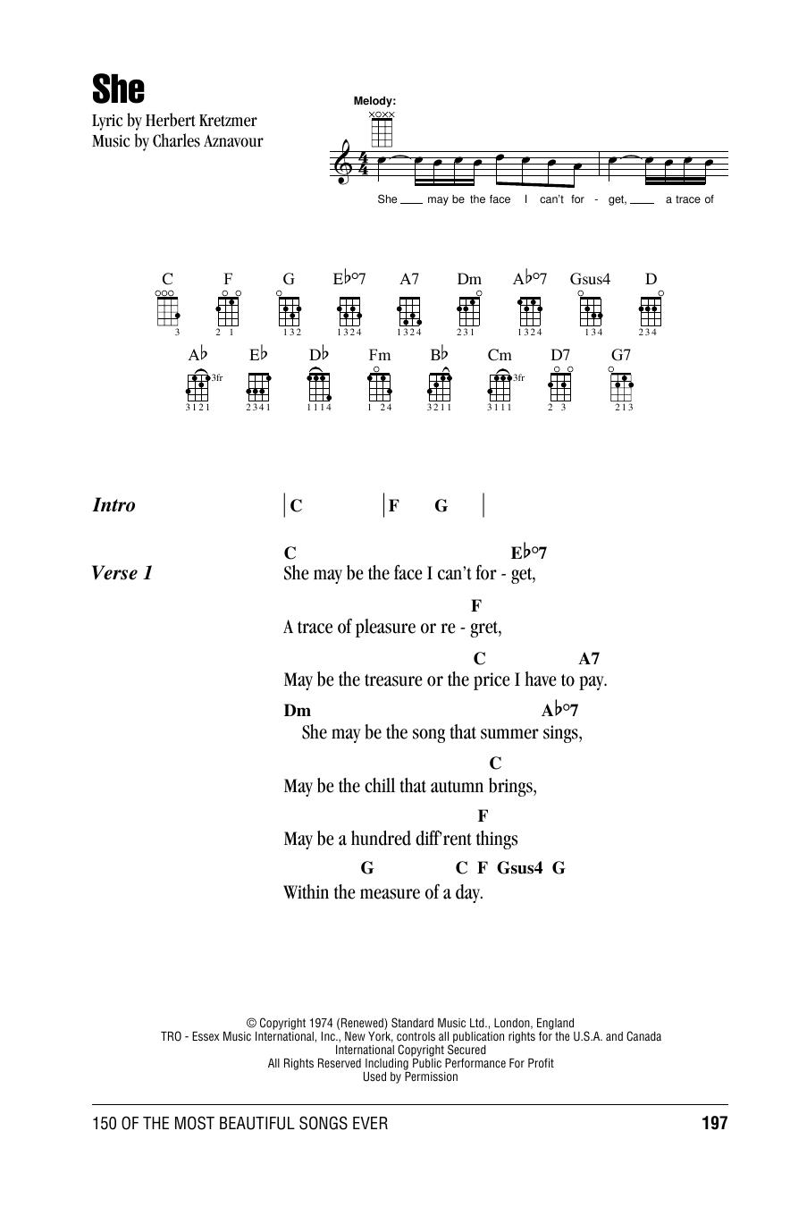 She (Ukulele Chords/Lyrics)