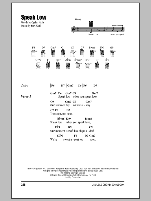 Tablature guitare Speak Low de Kurt Weill - Ukulele (strumming patterns)