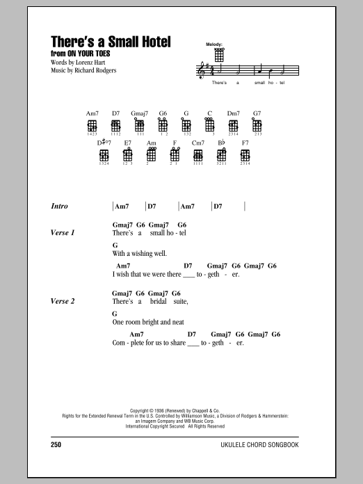 Tablature guitare There's A Small Hotel de Rodgers & Hammerstein - Ukulele (strumming patterns)