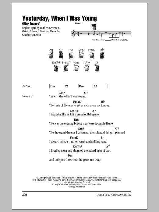 Ukulele yesterday ukulele chords : Yesterday, When I Was Young (Hier Encore) sheet music by Roy Clark ...