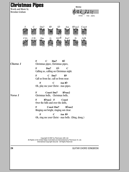 Christmas Pipes (Guitar Chords/Lyrics)