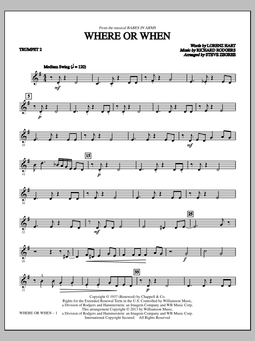Where Or When - Bb Trumpet 2 Sheet Music
