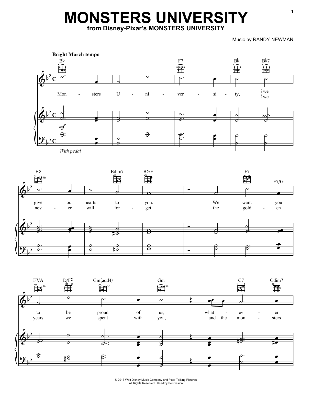 Monsters University (Piano, Vocal & Guitar (Right-Hand Melody))