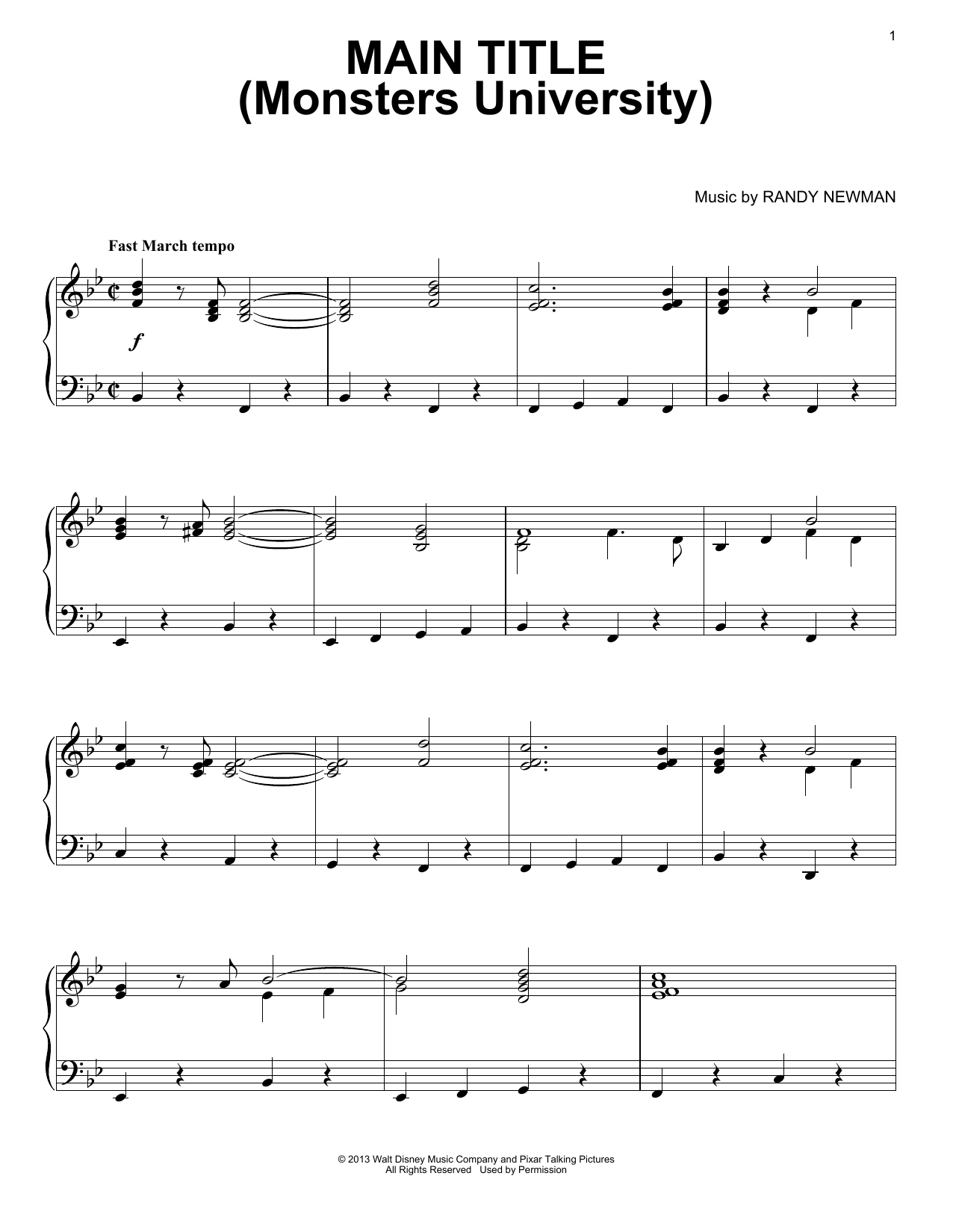 Main Title (Monsters University) (Piano Solo)