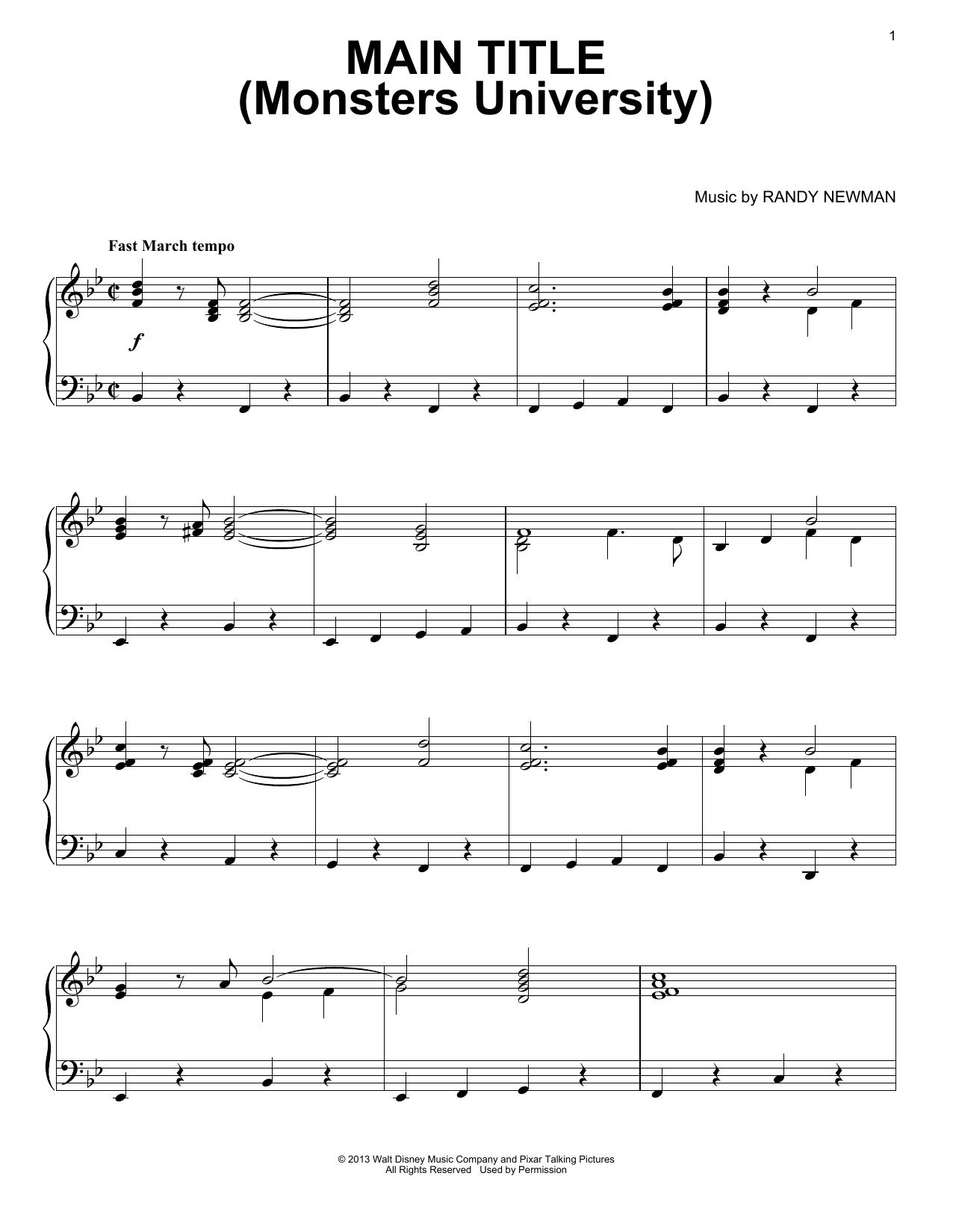 Main Title (Monsters University) Sheet Music