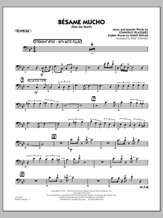 Besame Mucho (Kiss Me Much) - Trombone 1 (Jazz Ensemble)