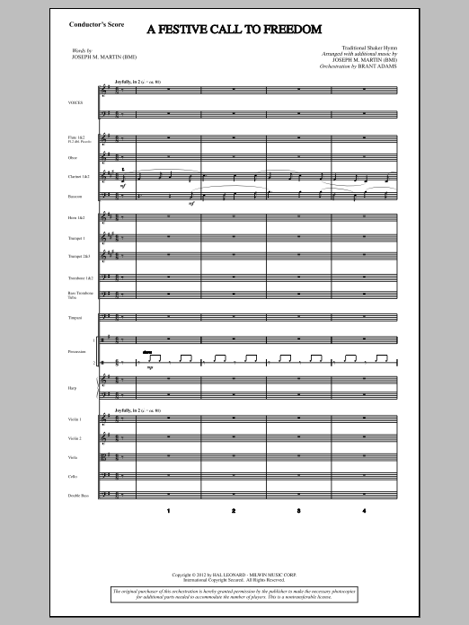 A Festive Call to Freedom (COMPLETE) sheet music for orchestra/band by Joseph M. Martin. Score Image Preview.