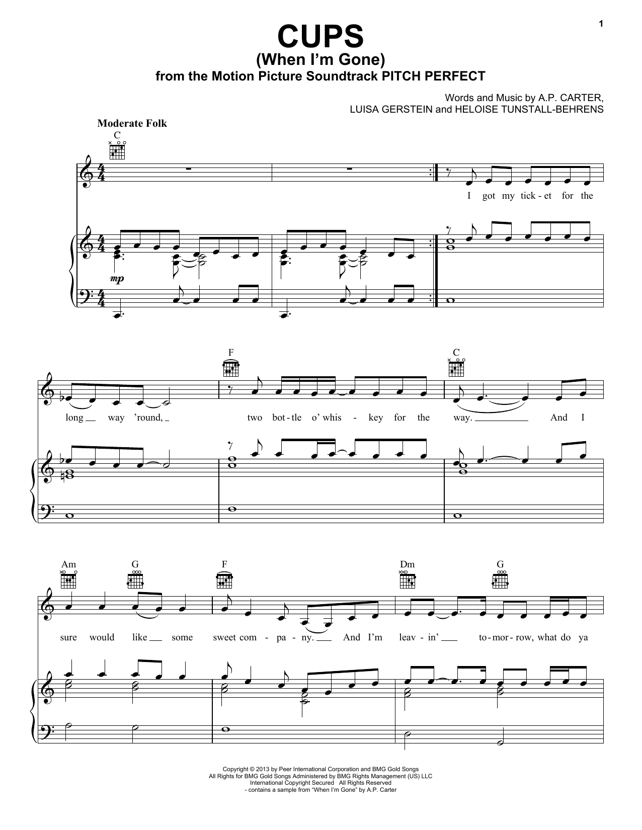 Cups (When I'm Gone) Sheet Music